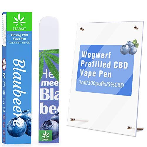 STARKIT® Wegwerf CBD Vape Pen mit 5% CBD E Liquids,Schlaf verbessern,Stress abbauen,Schmerzen lindern,ohne Nikotin,ohne THC (Blaubeere - 5% CBD)