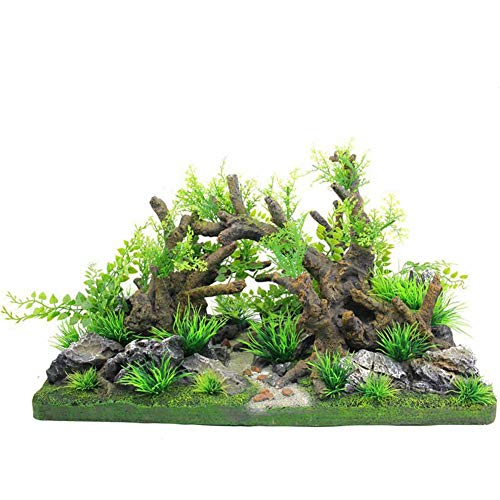 Fish Tank Decoraties, Green Aquarium Planten Plastic met Rockery View, Reef Rock Cave Resin Ornament Accessoires