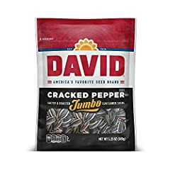 Contains (12) 5.25 ounce bags of DAVID Cracked Pepper Jumbo Sunflower Seeds, great for group and solo snacking Power through baseball season with these flavorful sunflower seed snacks, roasted and salted to perfection Fits a low carb lifestyle with 3...