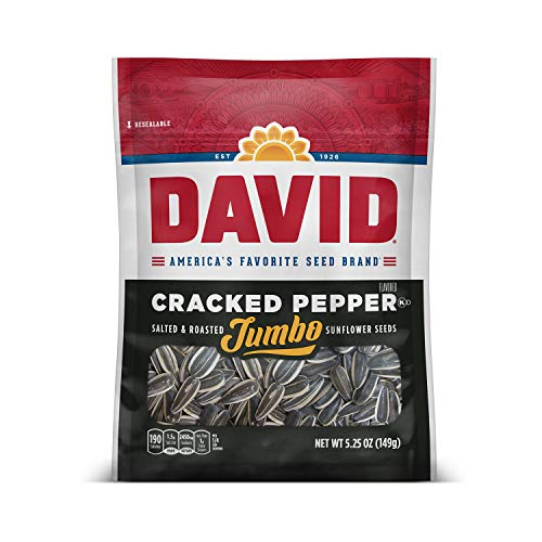 DAVID Roasted and Salted Cracked Pepper Jumbo Sunflower Seeds, Keto Friendly, 5.25 oz, 12 Pack