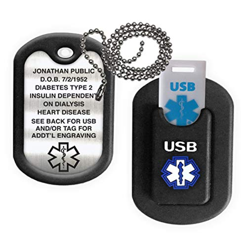 Medical Alert INFORMER USB Dog Tag - Black
