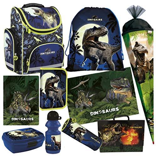 Dinosaurier Dino T-Rex 10 Teile Set Schulranzen Ranzen Tasche TORNISTER SCHULTÜTE 85 cm Federmappe mit Sticker von Kids4shop Schulrucksack