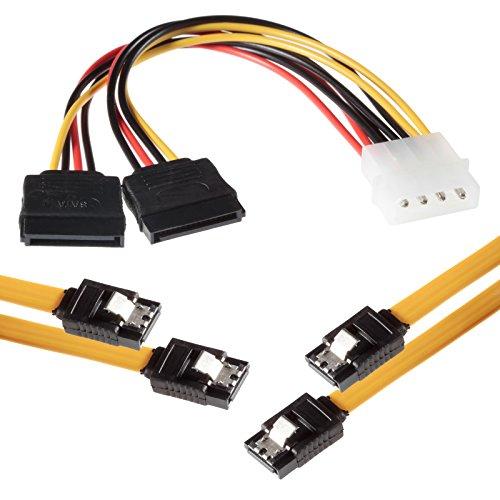 Poppstar - 2X Cable de Datos Flexible de 0,5m Sata 3 HDD SDD, enchufes Rectos, hasta 6 GB/s, Amarillo, Incluido el Adaptador de alimentación 4 Pines a 2X 15 Pines