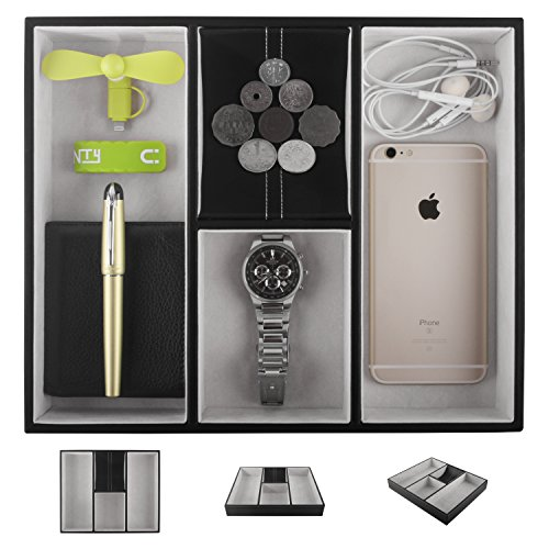 Leather Valet Tray for Men, Nightstand Organizer Dresser Catchall for Keys Phone...