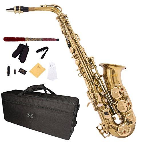 Mendini MAS-L - Saxofón alto, dorado, afinado en Mi bemol, incluye caja y boquilla