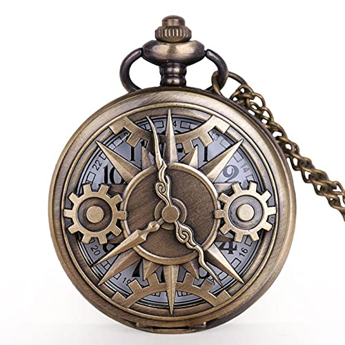 SSJIA Colgante de Reloj de Bolsillo Hueco de Bronce Steampunk con Reloj de Bolsillo con Cadena Reloj predeterminado