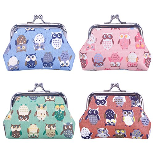 Oyachic Snap Coin Purse Vintage Change Purse Clasp Small Wallet Coin Bag Buckle Coin Pouch Clutch for Girl Women (4pcs cute owl)