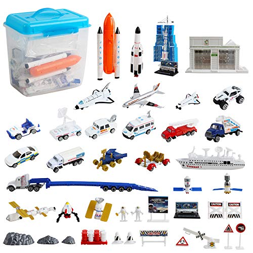 deAO 44-teiliges Astronauten Raumschiff Shuttle Raketen Rollenspiel Set mit Luft- und Raumfahrt-Kontrollzentrum und Zubehör - Lernspielzeug für Kinder