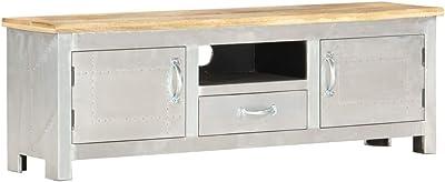 vidaXL Solid Mango Wood Aviator TV Cabinet Wooden Bedroom Living Room Entertainment Centre Storage Stand Unit Sideboard Hifi Cabinet