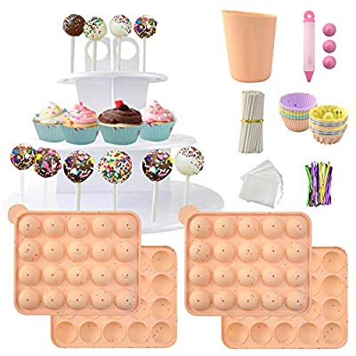 Cake Pop Maker Set Including Silicone Lollipop Molds, 3 Tier Display Stand, Silicone Cupcake Molds, Chocolate Candy Melting Pot, Lollipop Sticks, Decorating Pen, Bags and Twist Ties (Orange) by