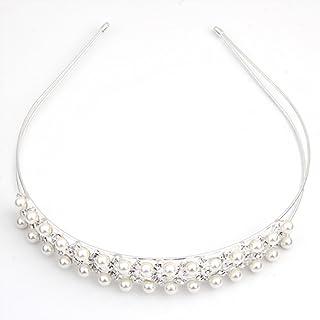 skyllc Silver Plated Pearl Beads Crystal Rhinestone Bridal Headband Hair Alice Band