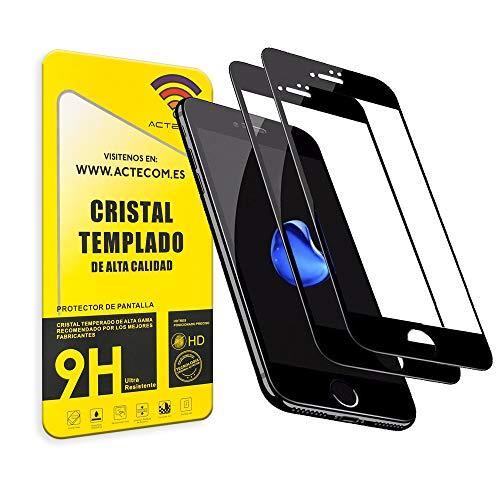 """actecom® Pack DE 2 Protector Completo Negro 5D Pantalla Compatible con iPhone 8 / iPhone 7 / SE 2020 Cristal Templado 4,7"""" 9H 2.5D (2 uds.)"""