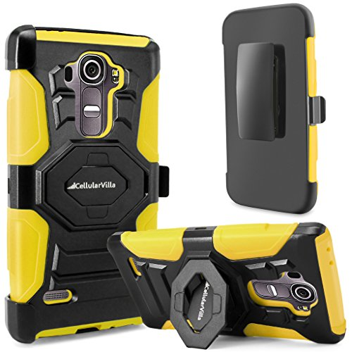 G4 Case, LG G4 Case, Cellularvilla Dual Layer [New Generation] [Heavy Duty] Armor Rugged Holster Case with Kickstand [Rotating] Locking Belt Swivel Clip Protective Cover for LG G4 (Yellow Black)