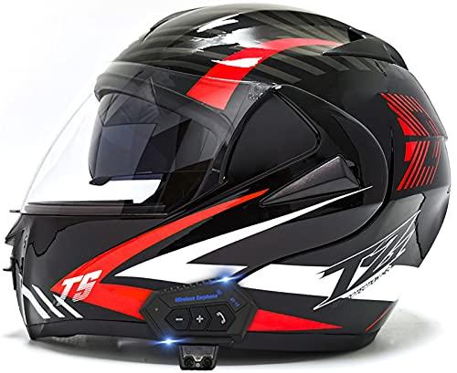 STRTG Casco De Moto Modular Bluetooth Integrado con Doble Anti Niebla Visera Cascos De Motocicleta ECE Homologado A Prueba De Viento Flip Up Helmets para Adultos Hombres Mujeres E,S