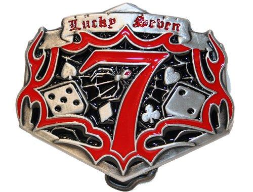 Buckle Lucky Seven 7 Poker Metall Rockabilly Damen Herren Gürtelschnalle