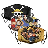 funny One Piece Face Mask for men women anime 3Pack cloth adjustable reusable