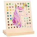 FIOBEE Earring Holder Stand Unicorn Earrings Organizer Wood Jewelry Rack Display for Girls Ear Stud Storage with 81 Holes