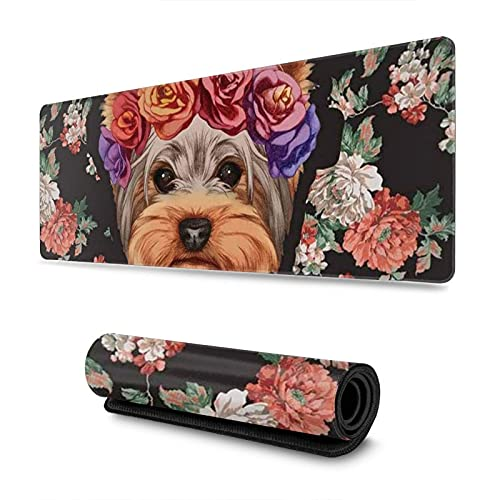 Yorkie Floral Extended Gaming Mouse Pad with Stitched Edges, Non-Slip Rubber Base Mousepad Keyboard Pad Desk Mouse Mat,11.8x31.5 in