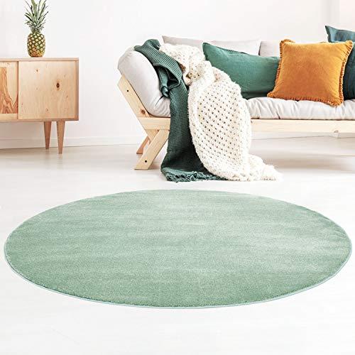Taracarpet Kurzflor-Designer Uni Teppich extra weich fürs Wohnzimmer, Schlafzimmer, Esszimmer oder Kinderzimmer Gala Mint grün 120x120 cm rund