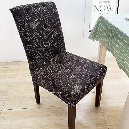 RGBVVM Stuhlhussen Schwarze Blätter Universal Stretchhusse Stuhlbezug Stretch Abnehmbare Waschbar Stuhlbezug für Hotel, Restaurant Dekor(4 Stück)