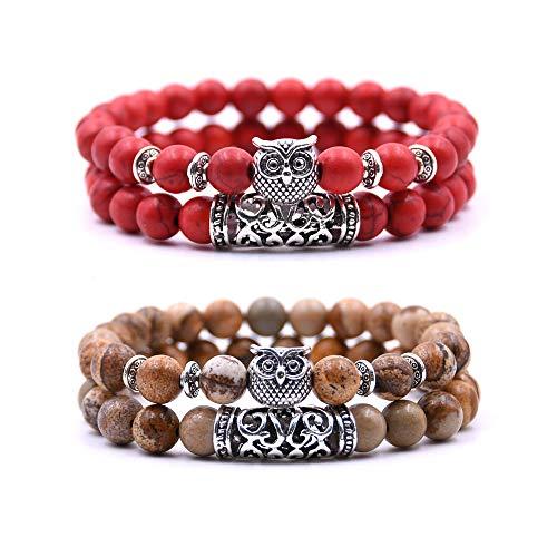 Bracelet Chouette Armband mit Eulendesign, Perlenarmband, Glücksbringer, 4 Stück - Rouge et Marron