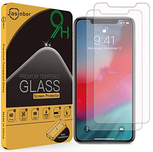 Jasinber 2-Pack Mica de Vidrio Cristal Templado para iPhone 11 Pro MAX/iPhone XS MAX (6.5 Pulgadas)