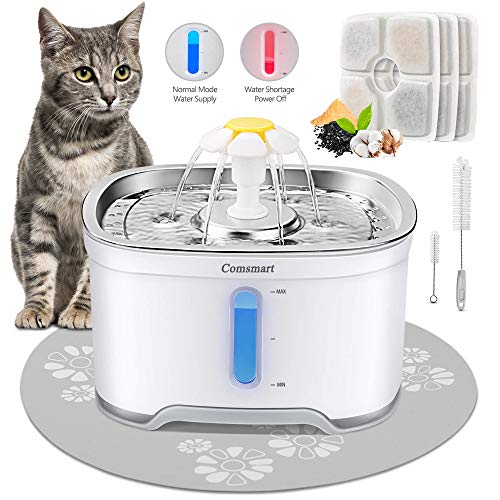 Comsmart Cat Water Fountain, Stainless Steel Intelligent Auto Power Off Pet Fountain Drinking Dog Water Fountain Recirculating 85 oz/2.5L Automatic Drinking Water Dispenser(Grey)