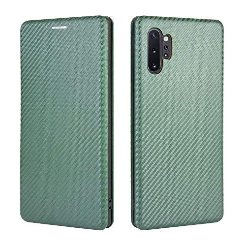 Nadoli PC Leder Hülle für Samsung Galaxy Note 10 Plus,Ultra Dünn Hybrid Magnet Buchstil Leder Kohlefaser Linie Muster Stoßdämpfung Bumper Schutz Schale Schutzhülle mit Kartenhalter