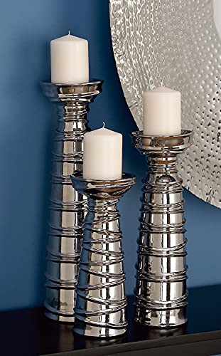 Deco 79 Ceramic Candle Holder, 19 by 15 by 12-Inch, Set of 3