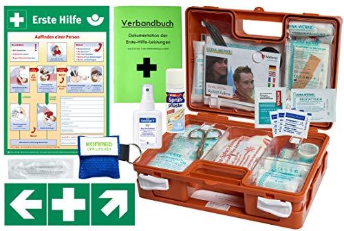 Erste-Hilfe-Koffer M5 QUICK für Betriebe DIN/EN 13157 - KOMPLETTPAKET- inkl. Notfallbeatmungshilfe + Sprühpflaster