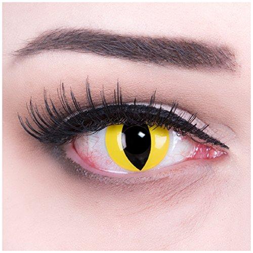 Farbige gelbe Katzenaugen Kontaktlinsen mit Stärke -5,50 Crazy Fun Color Contact Lenses Cat Eye Topqualität mit Linsenbehälter