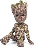 RENFEIYUAN Árbol Hombre Sentado Coleccionable Anime Lindo Modelo PVC Dibujos Animados Mini Figura de acción llaveros Regalos Modelo 6 cm Groot Maceta