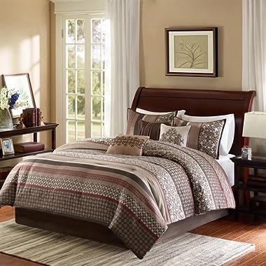 Madison Park Princeton King Size Bed Comforter Set Bed In A Bag - Crimson Red, Jacquard Patterned Striped – 7 Pieces Bedding Sets – Ultra Soft Microfiber Bedroom Comforters