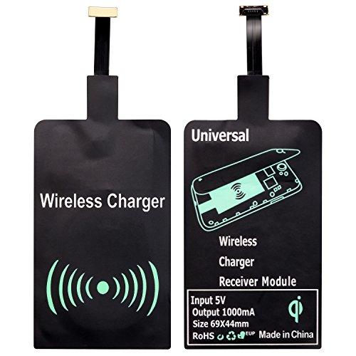 Qianyou - Ricevitore Qi universale, wireless, interfaccia Micro-USB, ultrasottile, per ricarica induttiva, per Samsung Galaxy S3/S4/S5, Sony, LG e altri cellulari Android nero Nero Micro USB Receiver
