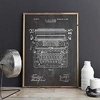 オフィスタイプライター特許作業タイプライターウォールアートキャンバスプリントポスターオフィスの装飾ヴィンテージ青写真絵画60x90cm内枠