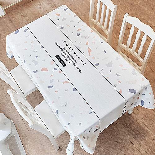 Telihome Simple Nappe De Coton Imperméable Etanche Petite Table Basse Rectangulaire Floral Nappe Floral Frais, Liwa, 140 × 140Cm