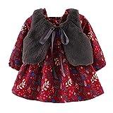 Robe Ensemble - BéBé Fille Feuille d'impression Chaud Robe De Princesse + Gilet Tenues Vêtements Ensemble BaZhaHei(6 Mois,du Vin)