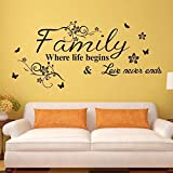 wall art decal sticker - Supzone Family Where Life Begins & Love Never Ends Wall Decals Quotes and Sayings Wall Stickers Big Size Removable Vinyl Art Living Room Bedroom Home Wall Decor