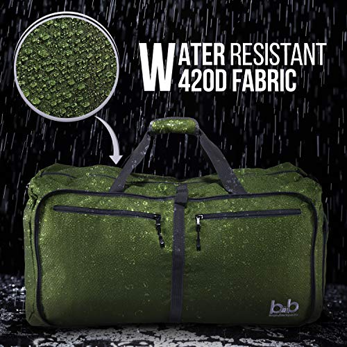 Extra Large Duffle Bag with Pockets - Waterproof Duffel Bag for Women and Men (Dark Green)