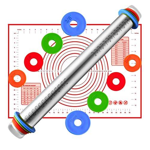 AMAYGA Rolling Pins con 4 Discos Ajustables Anillo y marcaje de medición,Rodillo...