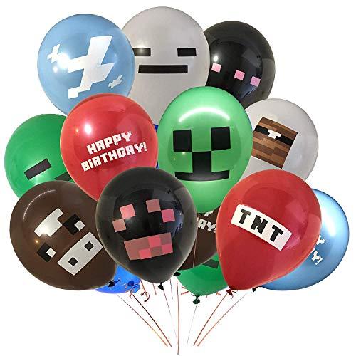 MIANRUII 36 Pcs Pixel Miner basteln Stil Gamer Party Ballons - große 12