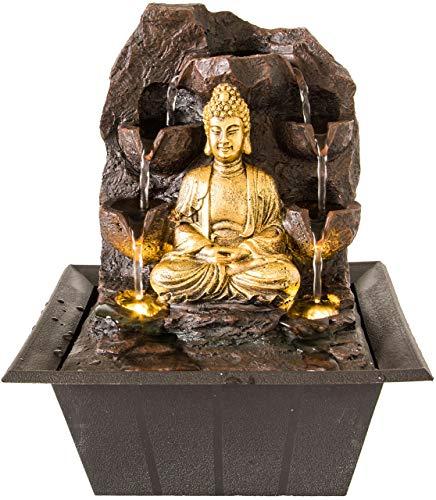 Nativ Zimmerbrunnen mit LED-Beleuchtung, Buddha Figur, Indoor-Brunnen aus Polyresin mit Pumpe und Beleuchtung