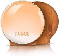 ZOUJIARUI Digitale LED-klok met 4 kleurenschakelaar en FM-radio voor slaapkamers - Meerdere natuurgeluiden Sunset Simulati...
