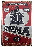 メタリックアンティークスズマーク装飾-映画映画バー・バー・ショップのためのレトロな壁アートマーク12「X8」