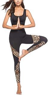 Qootent Women Yoga Pant Leopard Stitching Leggings Elastic Skinny Sport Trouser