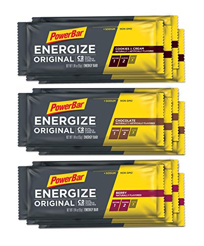 PowerBar Energize Original  The Original Energy Bar for Endurance & Team Sports Athletes  Fueling Champions for 30+ years: 12 x 55g Bars - Variety Pack