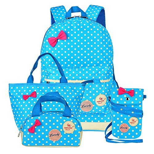 Girls Backpacks and Lunch Bag for School Book Bag and Handbag Purse Polka Dots (4Pcs Blue)