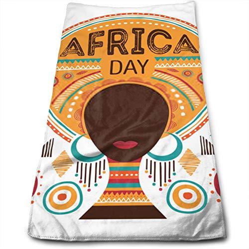 YudoHong Ilustración del Vector del día de África con Adornos y Patrones de la Tribu de la Mujer Africana Toallas de Mano de Fibra Toalla de Playa Ultra Suave Toalla de baño para Piscina