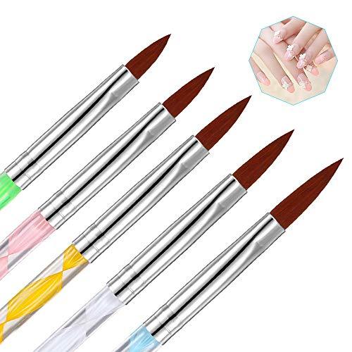 Acrylpinsel für Nägel, 5 Stücke Nail Art Pinsel Set Nagel Zubehör, UV Gel Nagel Pinsel Nagellack Pinsel Acrylpulver Pinsel für Nageldesign