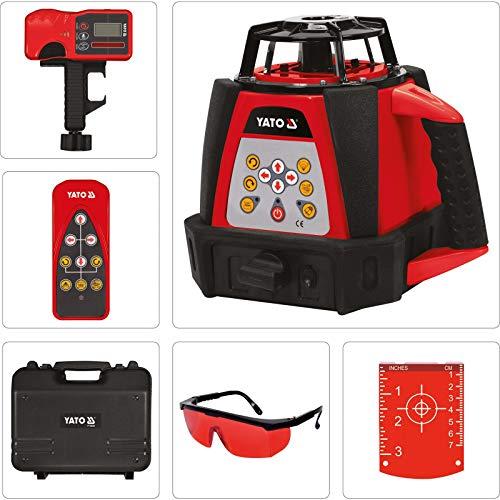 YATO professionele rotatielamer | zelfnivellerend | met detector, afstandsbediening en accu | in praktische koffer | tot 500 meter bereik | 360 ° | laser bouwlaser